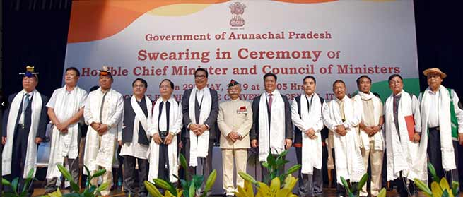 Pema Khandu sworn-in as the Chief Minister of Arunachal Pradesh